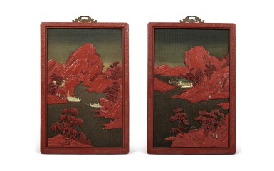 View 1. Thumbnail of Lot 232. A pair of large embellished carved wood polychrome lacquer panels, Qing dynasty, 18th / 19th century   清十八 / 十九世紀 木雕罩漆鑲玉石山水人物圖大掛屏一對.