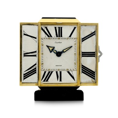 View 2. Thumbnail of Lot 87. A FINE AND RARE YELLOW GOLD, ONYX, ENAMEL AND DIAMOND-SET KEY-LESS DESK TIMEPIECE WITH FOLDING DIAL, CIRCA 1930.