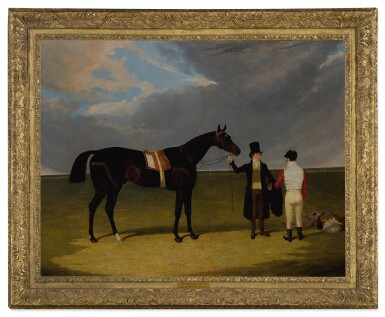 View 2. Thumbnail of Lot 679. Mr. Wagstaff's The Saddler with Jockey and Trainer at Doncaster.