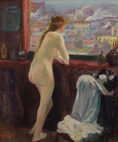 View 1. Thumbnail of Lot 12. Nude at Window over Greenwich Village.