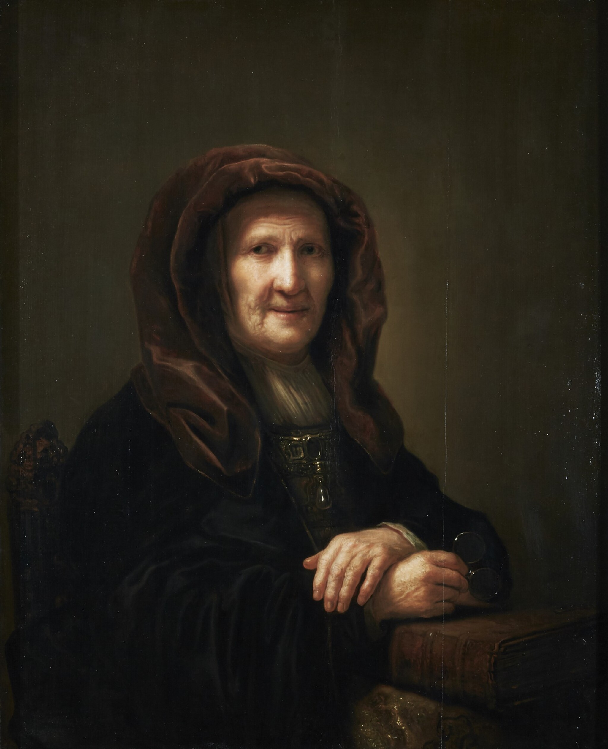 View full screen - View 1 of Lot 266. PIETER VERELST | A TRONIE OF AN OLD WOMAN SEATED, HOLDING SPECTACLES IN HER RIGHT HAND.