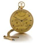 BREGUET | A VERY FINE GOLD QUARTER REPEATING WATCH WITH CALENDAR, YEAR INDICATION AND THERMOMETER  NO. 1806 SOLD TO CAROLINE BONAPARTE, PRINCESS MURAT ON 25 MARCH 1807 FOR 4000 FRANCS AND LIKELY PURCHASED AS A GIFT BY THE PRINCESS FOR LE COMTE DE FLAHAULT