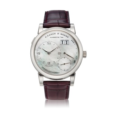 View 1. Thumbnail of Lot 290. Reference 110.029 Lange 1  A white gold wristwatch with date, power reserve indication and mother-of-pearl dial, Circa 2000 .