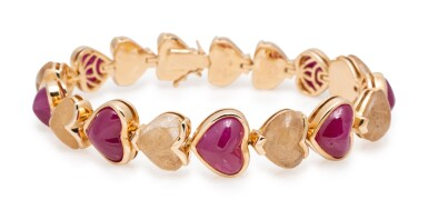 MARINA B GOLD, RUBY AND RUTILATED QUARTZ BRACELET