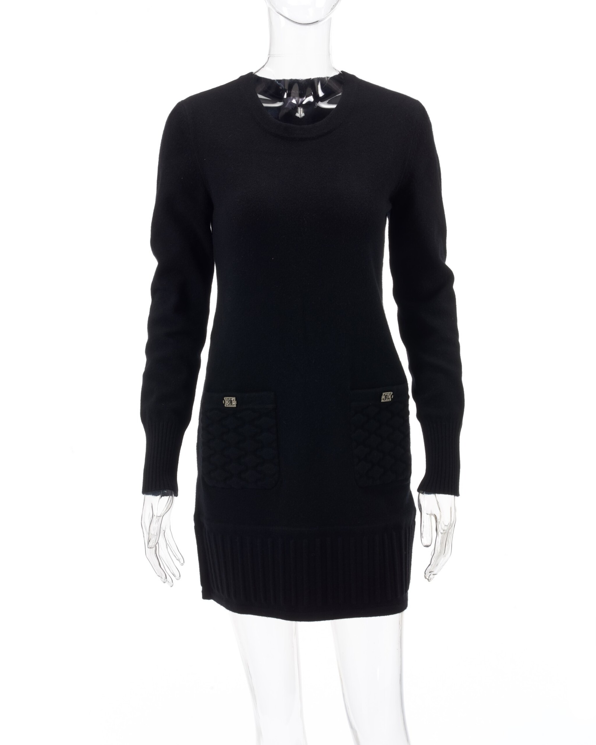 View full screen - View 1 of Lot 34. Black cashmere-blend dress.