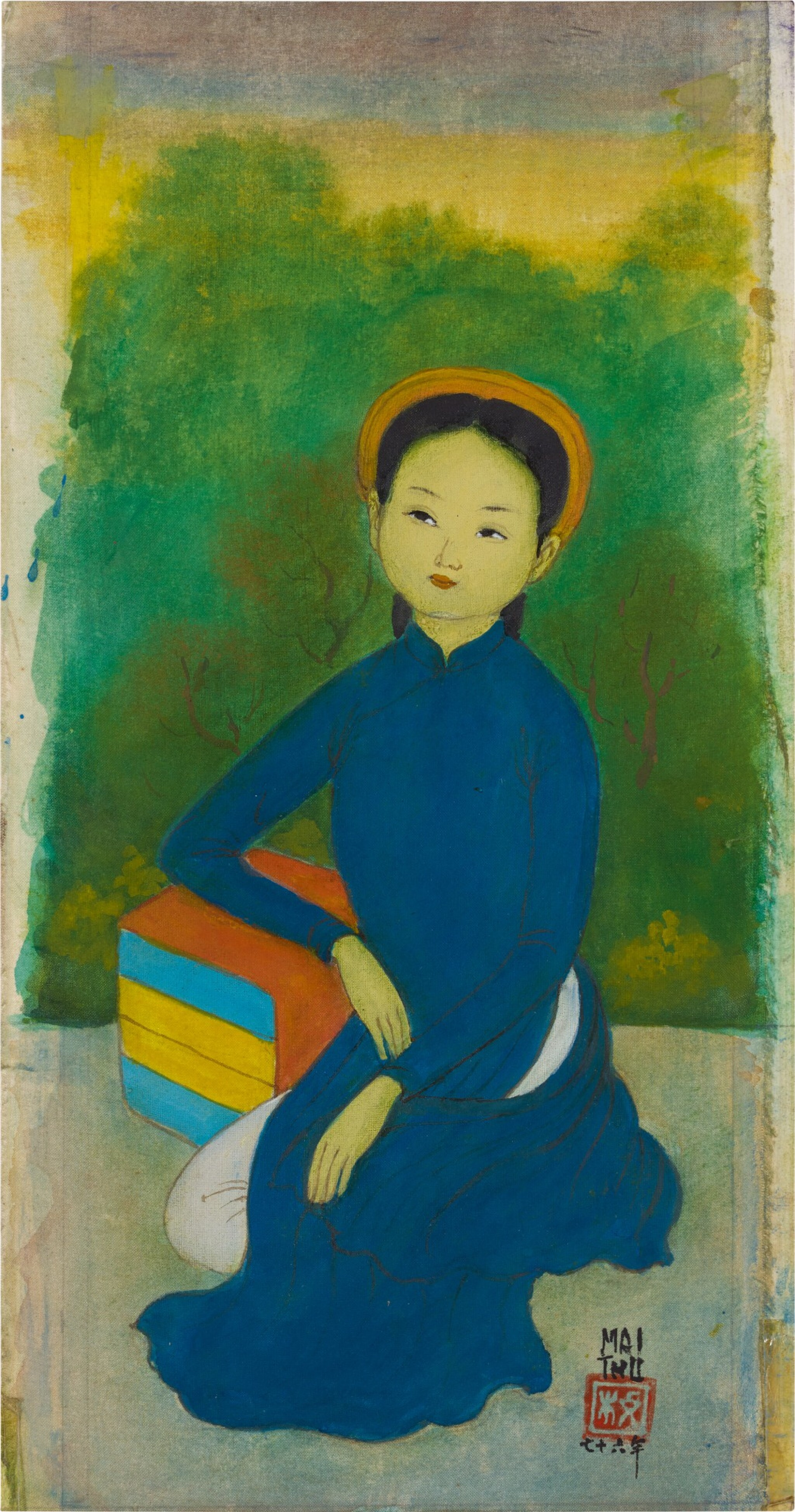 View full screen - View 1 of Lot 226. MAI TRUNG THU 梅忠恕 | FEMME AUX LIVRES (WOMAN WITH BOOKS) 仕女與書.