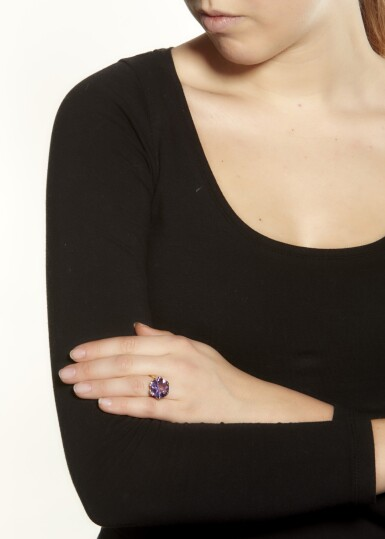 View 4. Thumbnail of Lot 6. AMETHYST AND DIAMOND RING.