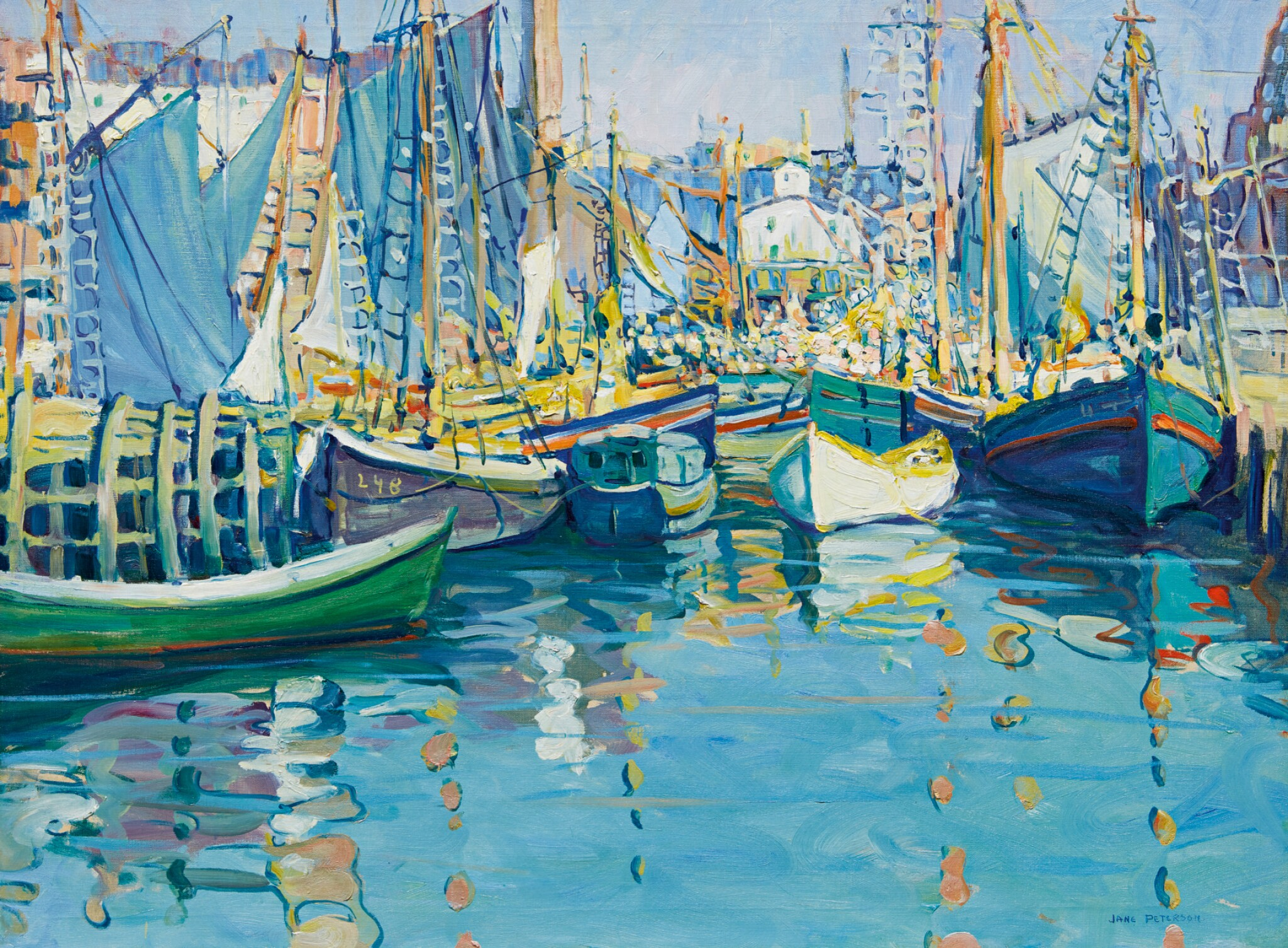 View full screen - View 1 of Lot 32. JANE PETERSON   BOATS IN HARBOR, GLOUCESTER.