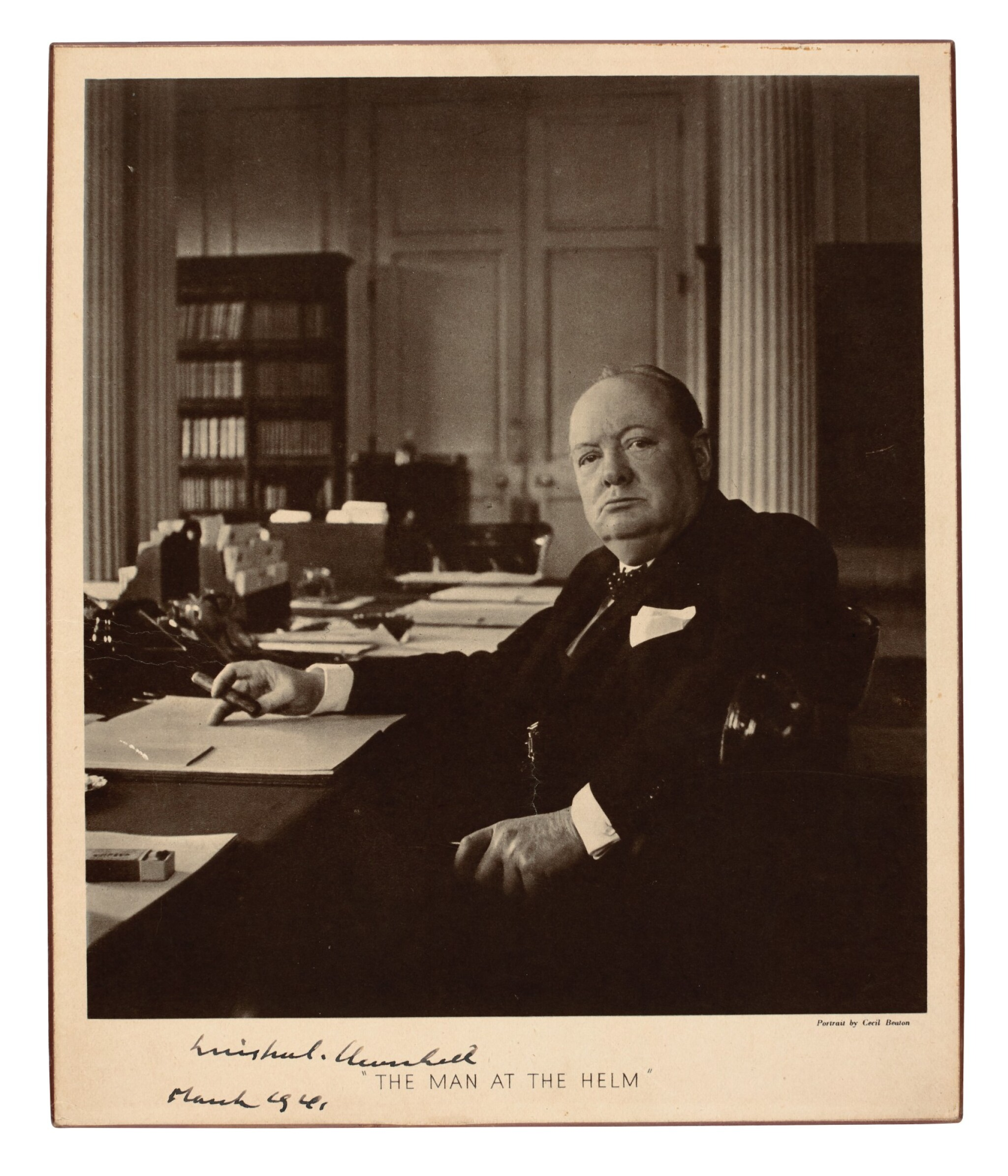 View full screen - View 1 of Lot 29. CHURCHILL | photographic portrait signed, 1941.