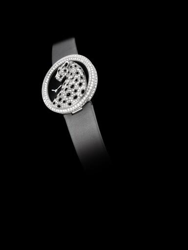 View 4. Thumbnail of Lot 2058. Cartier   Panthère Divine, Reference 3607, A white gold, black enamel and diamond-set wristwatch, Circa 2013   卡地亞   Panthère Divine 型號3607 白金鑲黑色琺瑯及鑽石腕錶,約2013年製.