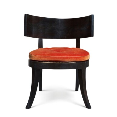 View 2. Thumbnail of Lot 112. A SET OF SIX KLISMOS TYPE CANED EBONY CHAIRS, MODERN.
