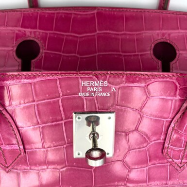 View 7. Thumbnail of Lot 304. Fuchsia Birkin 40cm in Shiny Porosus Crocodile with Palladium Hardware, 2009.