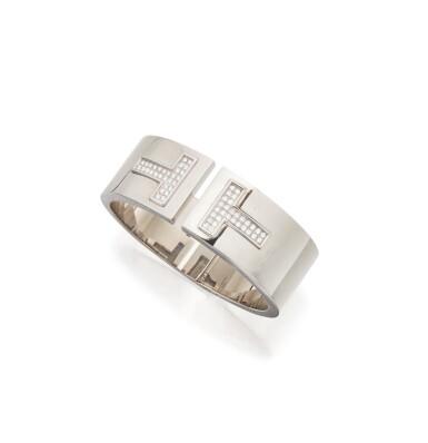 WHITE GOLD AND DIAMOND 'T' CUFF-BRACELET, TIFFANY & CO.