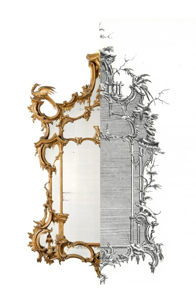 View 4. Thumbnail of Lot 164. A late George II carved giltwood wall mirror, after a design by Thomas Johnson, circa 1760.