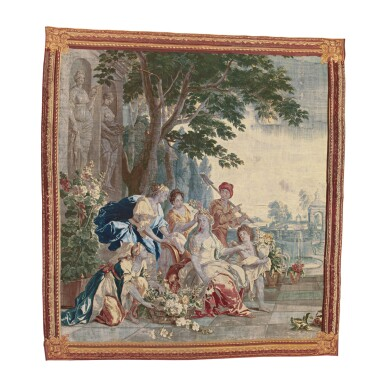 A BRUSSELS MYTHOLOGICAL TAPESTRY OF 'THE TRIUMPH OF FLORA,' PROBABLY WOVEN BY THE WORKSHOP OF JASPER VAN DER BORGHT, AFTER JAN VAN ORLEY AND AUGUSTIN COPPENS CIRCA 1720-1740
