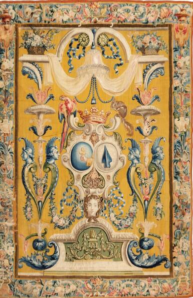 View 1. Thumbnail of Lot 22. A PAIR OF LOUIS XIV TAPESTRIES PORTIÈRES, PROBABLY LILLE, WORKSHOP OF GUILLAUME WERNIERS   PAIRE DE PORTIÈRES AUX ARMES EN TAPISSERIE, PROBABLEMENT LILLE, ATELIER DE GUILLAUME WERNIERS, D'ÉPOQUE LOUIS XIV.