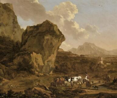 NICOLAES PIETERSZ. BERCHEM | An Italianate mountain landscape with apeasant woman herding her cattle