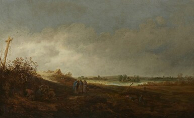 CORNELIS SYMONSZ. VAN DER SCHALCKE | A DUNE LANDSCAPE WITH PEASANTS AND GYPSIES RESTING AND CONVERSING