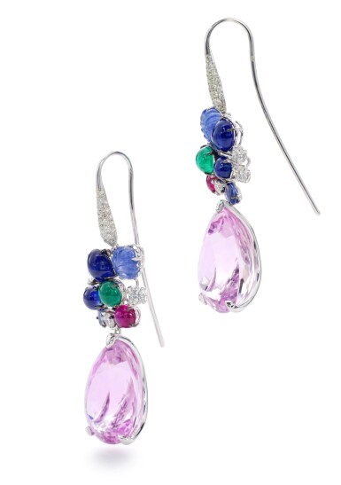 View 2. Thumbnail of Lot 24. MICHELE DELLA VALLE   PAIR OF GEM SET AND DIAMOND PENDENT EARRINGS.