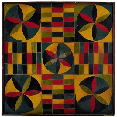 View 1. Thumbnail of Lot 1456.  VERY FINE AMERICAN POLYCHROME PAINT-DECORATED WOODEN PARCHEESI GAMEBOARD, CIRCA 1890.