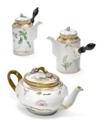 TWO ROYAL COPENHAGEN 'FLORA DANICA' COFFEE POTS AND COVERS AND A TEAPOT AND COVER, MODERN