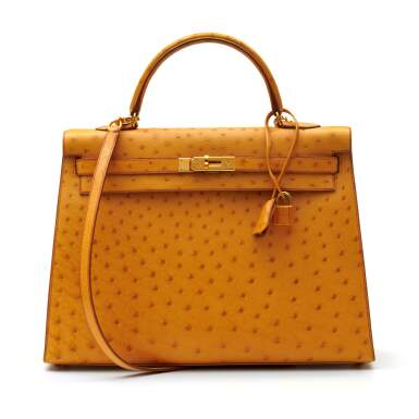 View 1. Thumbnail of Lot 315. Saffron Sellier Kelly 35 in Ostrich Leather with Gold Hardware, 1996.