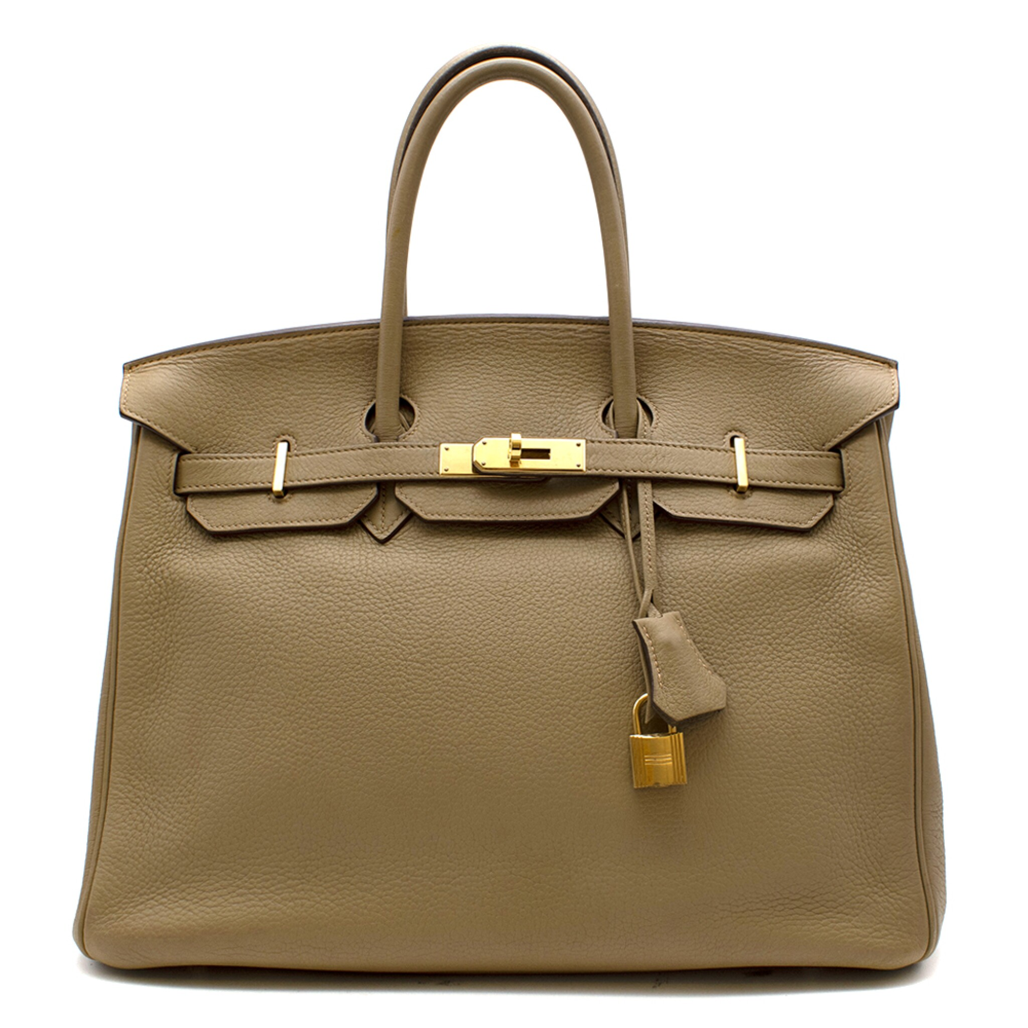View full screen - View 1 of Lot 31. HERMÈS | CARDAMOME BIRKIN 35 IN TAURILLION CLEMENCE LEATHER WITH GOLD HARDWARE, 2008.