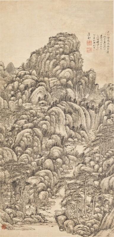 View 1. Thumbnail of Lot 3078. Wang Yuanqi 1642 - 1715 王原祁 1642-1715   Landscape after Wang Meng 仿王蒙山水     .