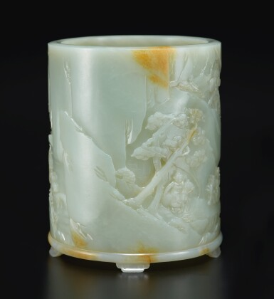 View 3. Thumbnail of Lot 14. An exceptional white and russet jade brushpot, Qing dynasty, Qianlong period   清乾隆 白玉雕進寶圖筆筒.