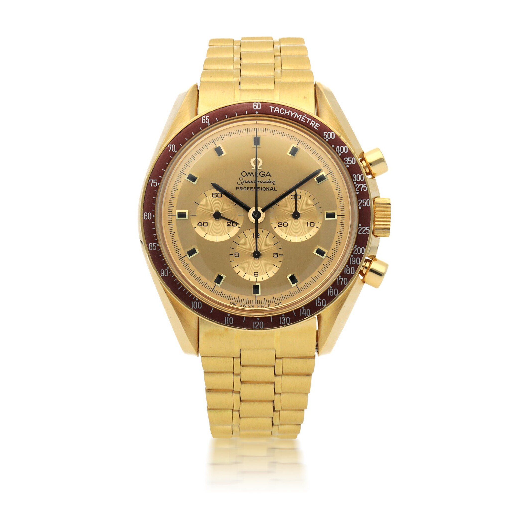 View full screen - View 1 of Lot 371. SPEEDMASTER APOLLO XI, REF 145.022-69 YELLOW GOLD CHRONOGRAPH WRISTWATCH WITH BRACELET MADE IN 1970.