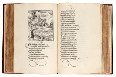 View 3. Thumbnail of Lot 145. Pfintzing, Tewrdannckhs, [Nuremberg, 1517], contemporary stamped calf over wooden boards.