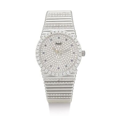 PIAGET | EMPERADOR, REFERENCE 12336C, A HEAVY WHITE GOLD, DIAMOND AND SAPPHIRE-SET BRACELET WATCH, CIRCA 1980