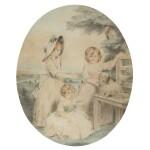 A group portrait of Lady Honora Elizabeth Hester Lambart (1784-1856), Lady Sophia Augusta Lambart (1787-1798), Lady Alicia Margaretta Hockmore Lambart (1785-1818) and their dog