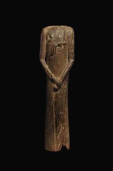 View 1. Thumbnail of Lot 65. AN EGYPTIAN WOOD FIGURE OF A MAN, SECOND PERSIAN PERIOD, 342-332 B.C..