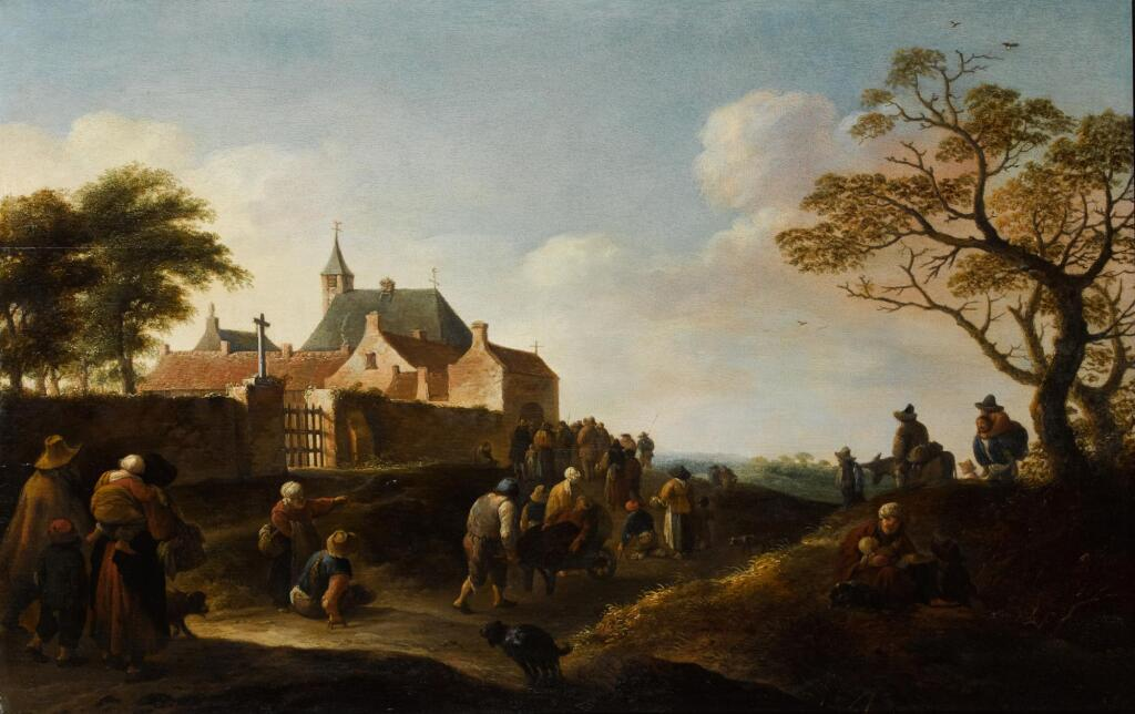 PIETER DE BLOOT | Beggars gathering outside a convent
