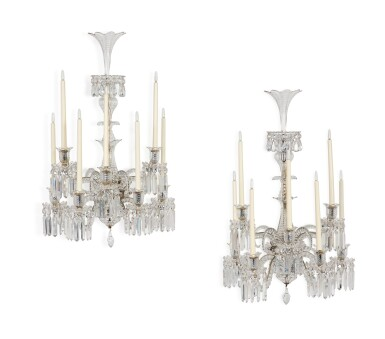 View 2. Thumbnail of Lot 261.  A PAIR OF CUT AND MOULDED GLASS SIX-LIGHT WALL LIGHTS IN THE MANNER OF BACCARAT.