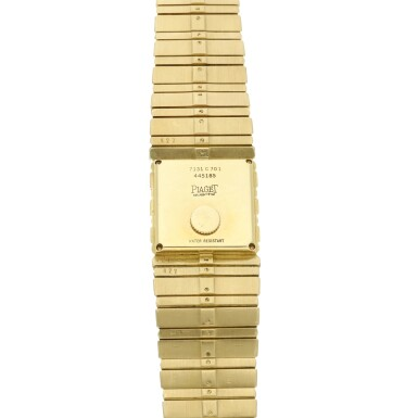 View 5. Thumbnail of Lot 30. Reference 7131 C 701 Polo  A yellow gold square shaped bracelet watch, Circa 1985 .
