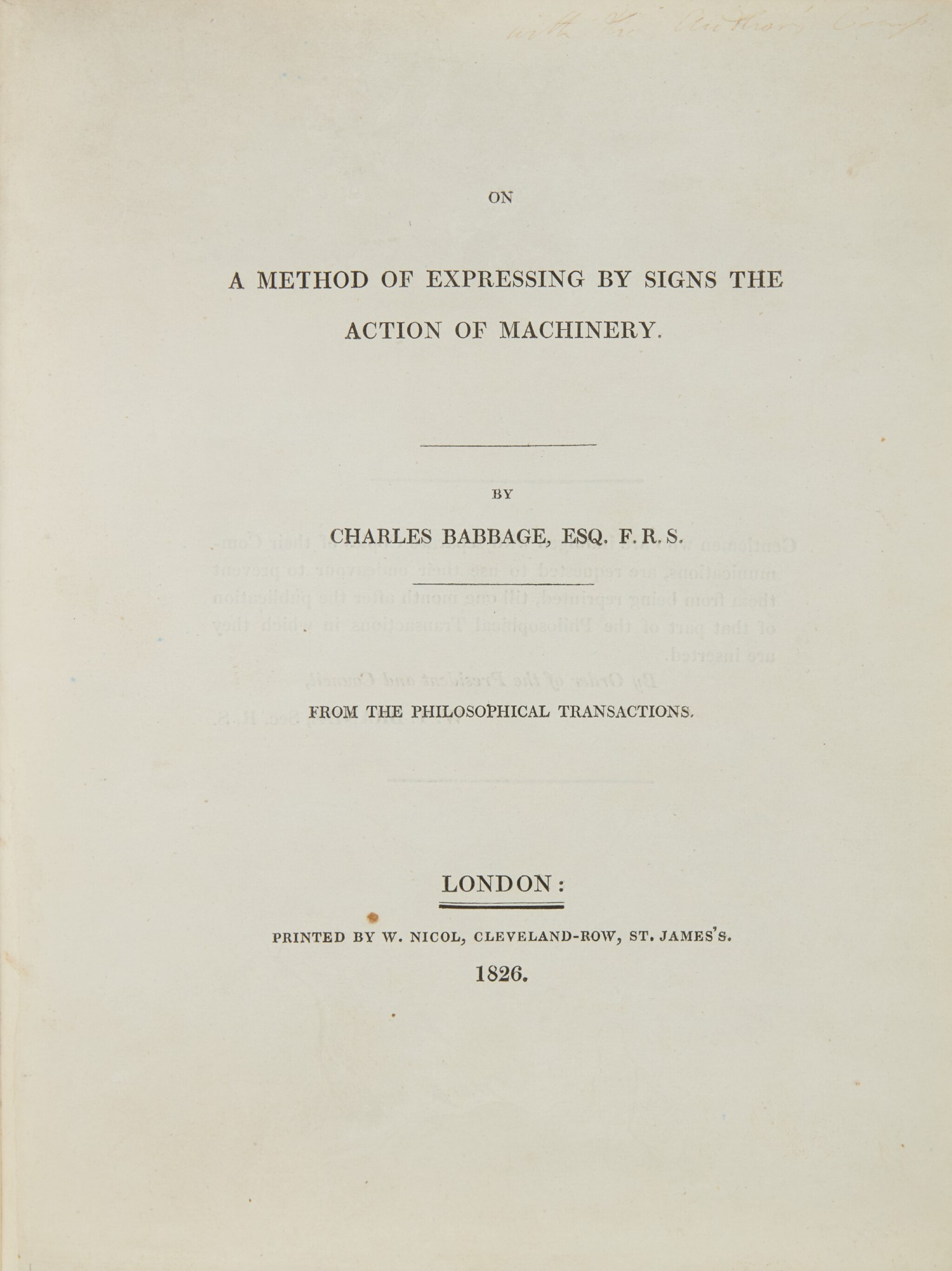 View full screen - View 1 of Lot 33. BABBAGE, CHARLES   ON A METHOD OF EXPRESSING BY SIGNS THE ACTION OF MACHINERY. 1826.
