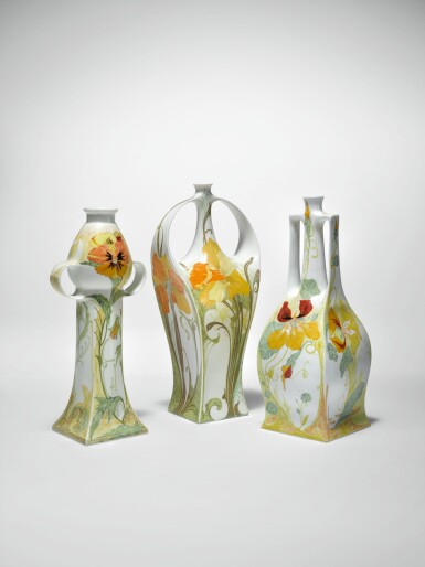 """View 2. Thumbnail of Lot 122. ROZENBURG   TWO-HANDLED """"PANSY AND SPARROW"""" VASE."""