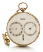 BREGUET  [ 寶璣] | A FINE, SMALL AND SLIM GOLD AND SILVER RUBY CYLINDER WATCH WITH SUBSIDIARY HOUR AND MINUTE DIALS, WITH SHORT GOLD CHAIN AND RATCHET KEY  NO. 4287 4011, 'PETITE MONTRE SIMPLE TRÈS PLATE' SOLD TO LE COMTE KAROLY ON 22 FEBRUARY 1825 FOR 2,000 FRANCS  [ 小型黃金及銀製懷錶備紅寶石工字輪擒縱機芯、小時及分鐘小錶盤,配黃金短錶鏈及棘輪鑰匙,編號4287 4011,1825年2月22日以2,000法郎售予卡羅伊伯爵]