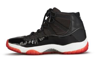 View 6. Thumbnail of Lot 17. Michael Jordan Playoff Game Worn and Dual Signed 'Player Sample' Air Jordan 11 'Bred' | Size 13.5.