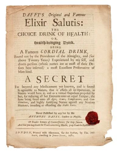 View 1. Thumbnail of Lot 22. DAFFY   Elixir Salutis, 1681, 2 pamphlets.