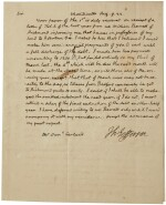 Jefferson, Thomas. Autograph letter signed, to Samuel Garland, 9 August 1822