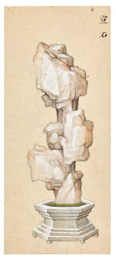 View 6. Thumbnail of Lot 361. A SET OF SIX PAINTINGS OF SCHOLAR'S ROCKS QING DYNASTY, 19TH CENTURY | 清十九世紀 《賞石圖》一組六幅.