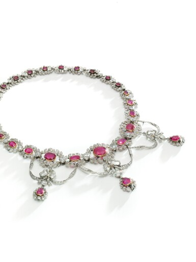 View 3. Thumbnail of Lot 159. RUBY AND DIAMOND NECKLACE, CIRCA 1910.