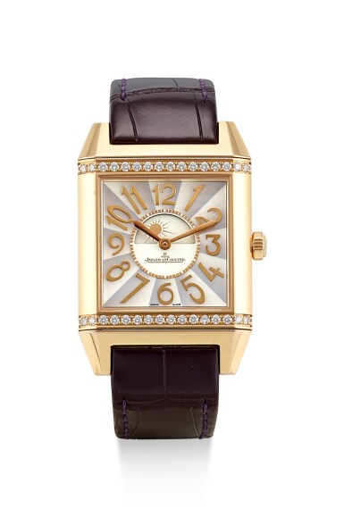 JAEGER-LECOULTRE   REVERSO SQUADRA LADY AUTOMATIC, REFERENCE 234.2.56,  A PINK GOLD AND DIAMOND-SET WRISTWATCH WITH DAY AND NIGHT INDICATION AND MOTHER-OF-PEARL DIAL, CIRCA 2010