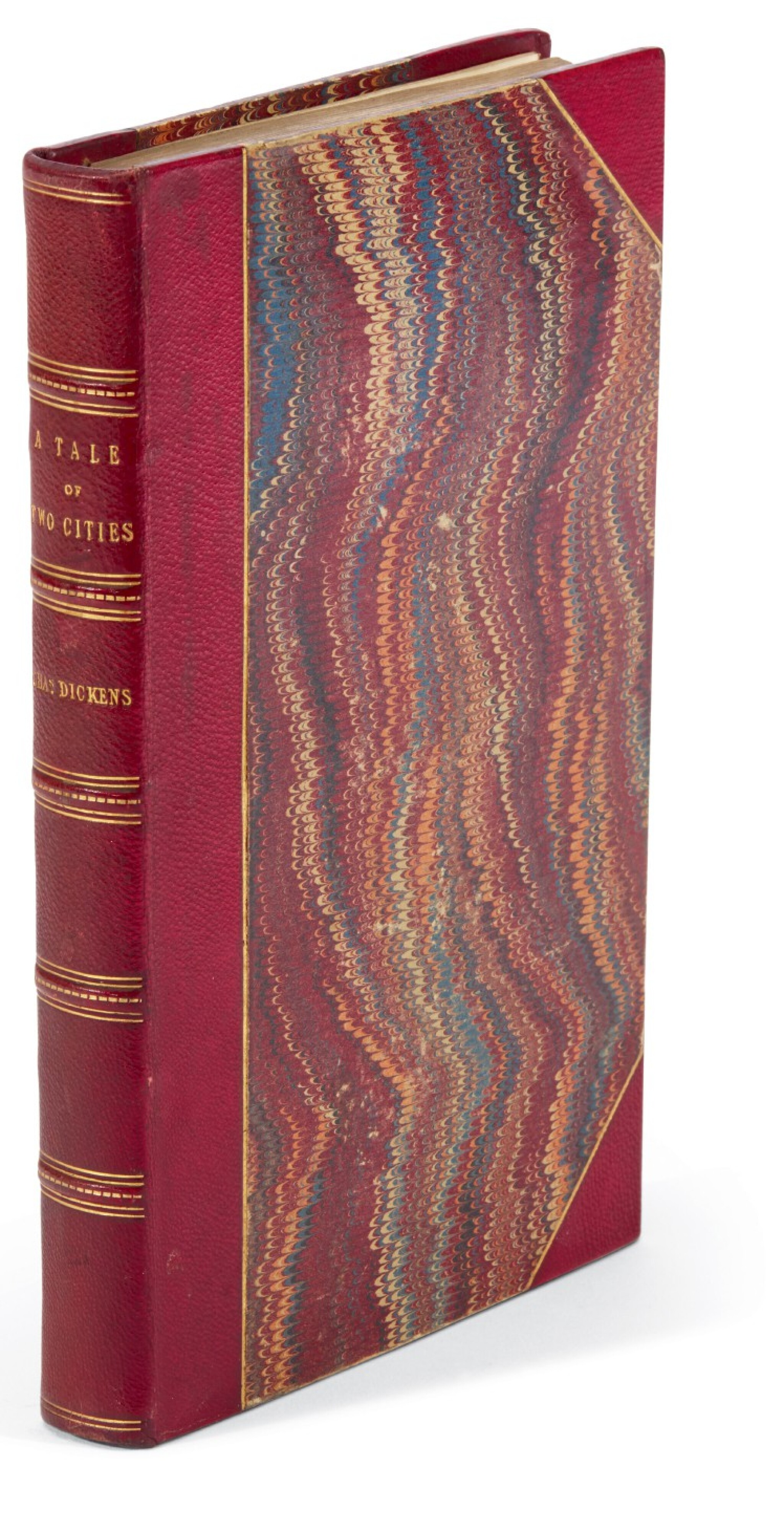 View full screen - View 1 of Lot 175. Dickens, A Tale of Two Cities, 1858, presentation copy in presentation binding inscribed to Mrs Cowden Clarke, letter.