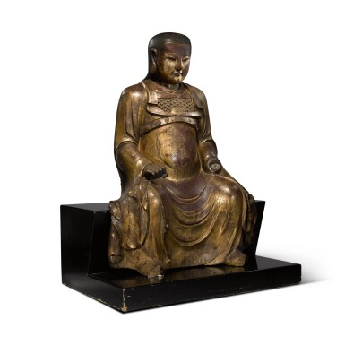 View 3. Thumbnail of Lot 225. A large gilt-lacquered wood figure of Zhenwu, Ming dynasty   明 木漆金真武坐像.