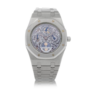 View 1. Thumbnail of Lot 14. Royal Oak, Ref. 25829ST Stainless steel perpetual calendar wristwatch with moon-phases and bracelet Circa 2001   愛彼25829ST型號「Royal Oak」精鋼萬年曆鍊帶腕錶備月相顯示,年份約2001.
