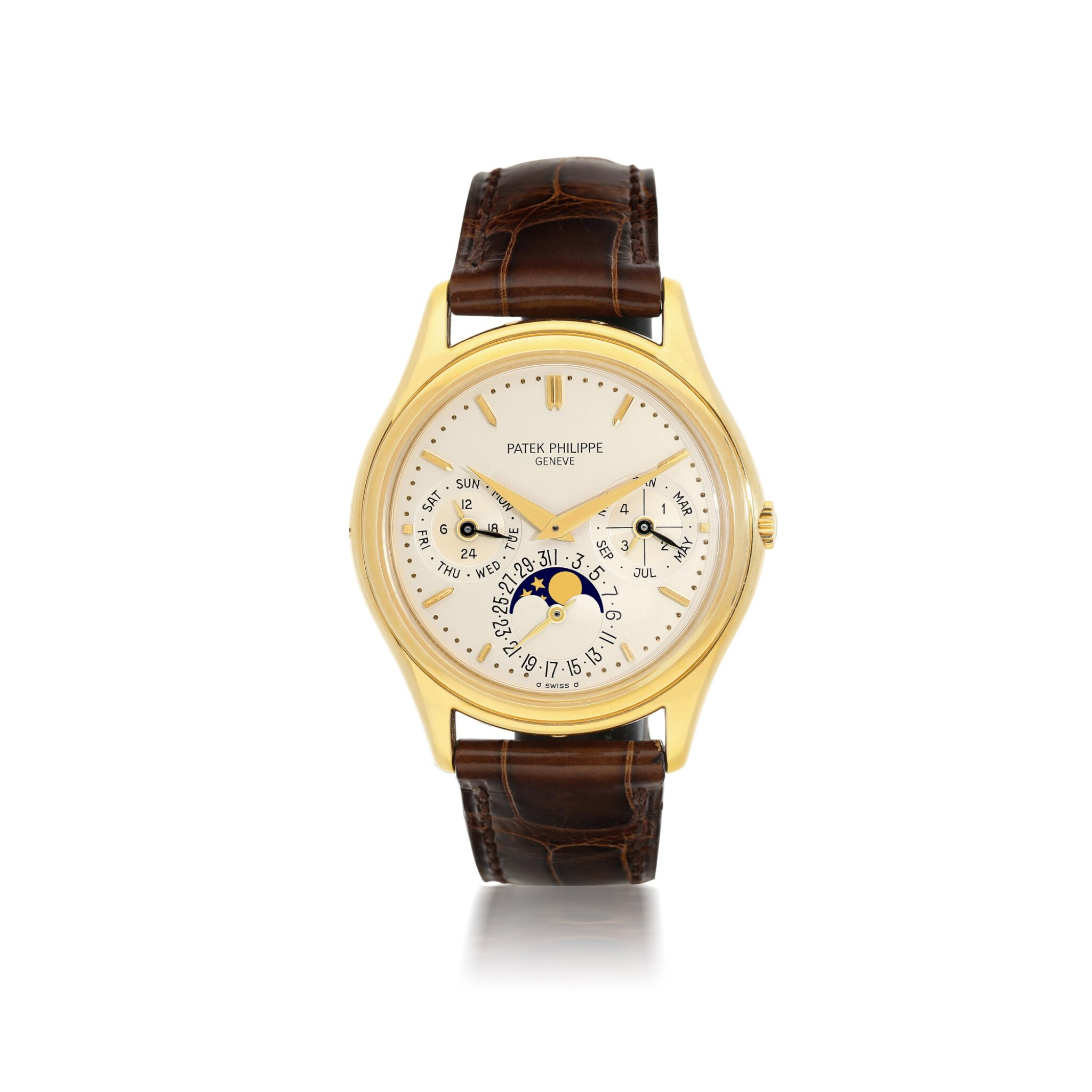 View 1 of Lot 52. PATEK PHILIPPE | REFERENCE 3941 A YELLOW GOLD AUTOMATIC PERPETUAL CALENDAR WRISTWATCH WITH MOON PHASES, CIRCA 1990.
